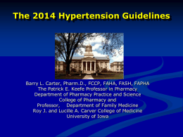 Status Report on the NHLBI-Sponsored CVD Prevention Guidelines