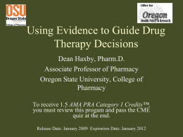 Evidence-Based Drug Therapy Evaluation