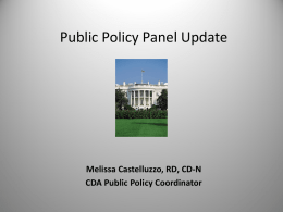 Public Policy Panel Update - Academy of Nutrition and