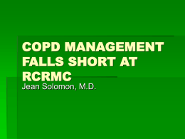COPD MANAGEMENT FALLS SHORT AT RCRMC