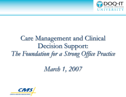 Care Management and Clinical Decision Support: The