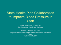 Improving Blood Pressure and Stroke Management in Utah