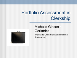 Portfolio Assessment in Clerkship