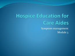 Hospice Education for Care Aides