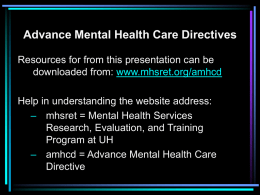 Advance Mental Health Care Directives