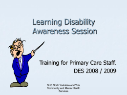Training for Primary Care Staff.