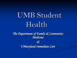 UMB Student Health - University of Maryland School of
