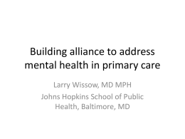 Building alliance to address mental health in primary care