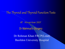 Thyroid Function Tests - Audley Mills Surgery HOME