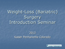 Bariatric Surgery Inservice