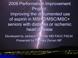 2007 Performance Improvement Project Proposal: Improving