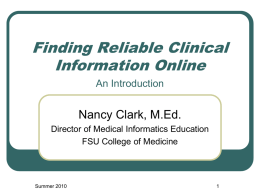Finding Reliable Online Medical Information