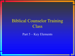 Basics of Biblical Counseling - Grace Bible Church