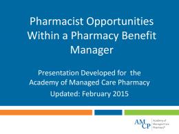 Pharmacist Opportunities within a PBM