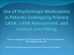 Use of Psychotropic Medications in Patients Before and