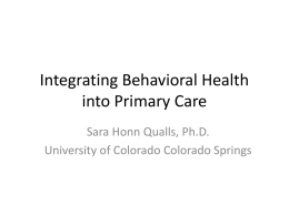 Integrating Behavioral Health into Primary Care