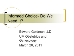 Informed Choice- legal issues