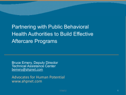 Partnering with Public Behavioral