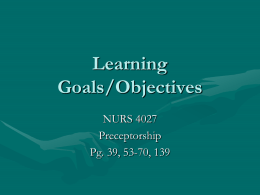 Learning Goals for Preceptorship