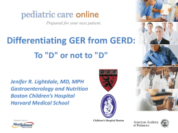 EQIPPing the Pediatrician with Strategies for GER and GERD