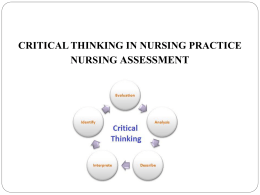 03. Critical Thinking in Nursing Practice, Nursing Assessment