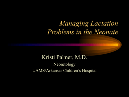 Managing Lactation Problems in the NICU