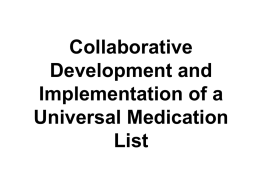 Collaborative Development and Implementation of a Universal