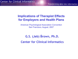 Therapists effects - A Collaborative Outcomes Resource Network