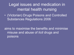 Legal issues and medication in Mental Health Nursing