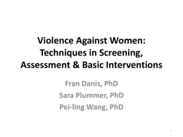 Violence Against Women: Techniques in Screening, Assessment