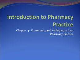 Introduction to Pharmacy Practice