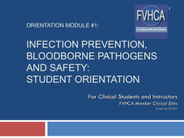 FVHCA Safety and Infection Control: Student Orientation