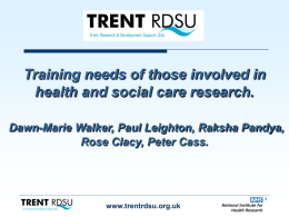 Training needs of those involved in health and social care research