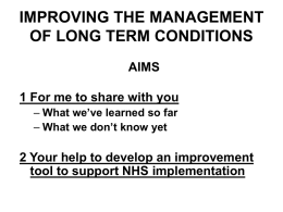 improving management of long term conditions