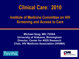 Michael Saag: Clinical Care