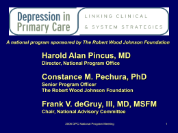 Depression in Primary Care: Drowning in the Mainstream or Left on