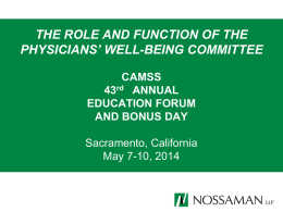 The Role and Function of the Physicians` Well