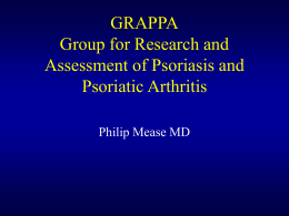 First International Psoriatic Arthritis Working Group Meeting: 8/15