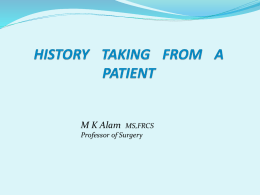 History taking from a surgical patient