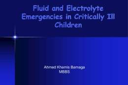 Fluid and Electrolyte Emergencies in Critically Ill Children
