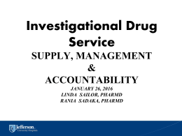 Investigational Drug Service - Thomas Jefferson University