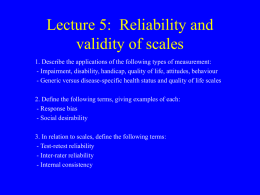 Lecture 5 - Reliability and validity of scales