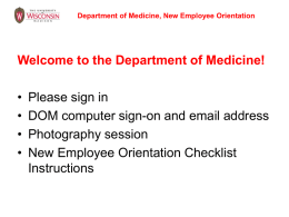 Department of Medicine, New Employee Orientation, Student Hourly