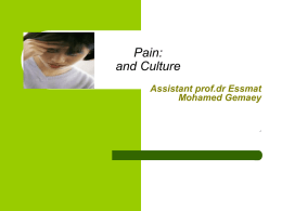 Pain: and Culture - Home - KSU Faculty Member websites