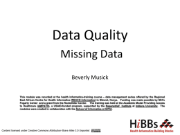 Data Quality Missing Data Beverly Musick