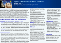Applied Behavioral Approaches to ADD/ADHD Richard T. Cook, Jr.