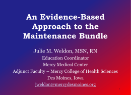 Evidence Based Approach to the Maintenance Bundle