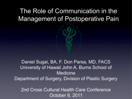 Post-Op Pain Scores - Cross Cultural Health Care Conference