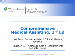 Vital Signs and Anthropometric Measurements Vital signs