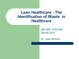Lean Healthcare - The Identification of Waste JMB publish Jan 2015